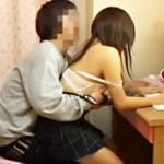 【家庭内盗撮動画】チャラい家庭教師が生理中で張った妹の着衣巨乳を鷲掴み…室内で妹をレイプした映像…