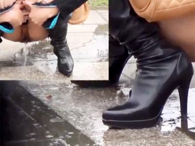 【野ション盗撮動画】トイレに間に合わず野外でM時開脚してオシッコする素人たちを隠し撮りww